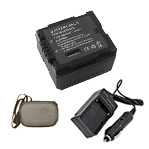 Amsahr Extended Life Replacement Digital Camera and Camcorder Battery PLUS Mini Battery Travel Charger for Panasonic VW: VBG130, VBG130-K, VBG130E-K, VBG070 - Includes Hard Case Camera Bag
