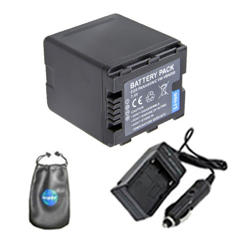 Amsahr Digital Replacement Digital Camera and Camcorder Battery PLUS Mini Battery Travel Charger for Panasonic VW: VBG260, VBG070, VBG130, VBG6 - Includes Lens Accessories Pouch