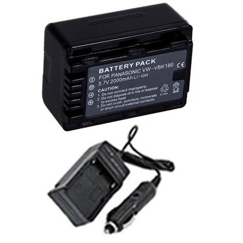 Amsahr Extended Performance Replacement Digital Camera and Camcorder Battery PLUS Mini Battery Travel Charger for Panasonic VW: VBK180, VBK180K, VBK360, VBK360E-K - Includes Car Adapter