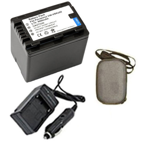 Amsahr Extended Life Replacement Digital Camera and Camcorder Battery PLUS Mini Battery Travel Charger for Panasonic VW: VBK360, VBK360K, VBK360E, VBK180 - Includes Hard Case Camera Bag