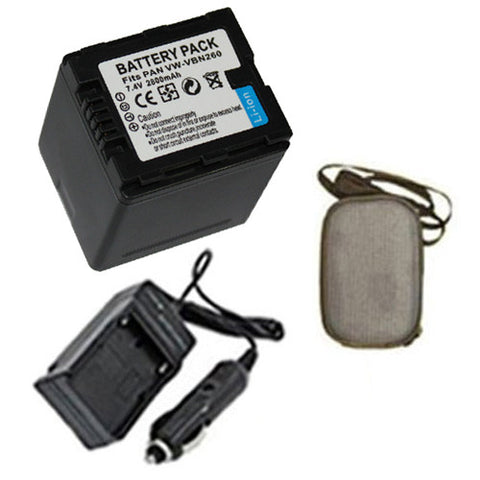 Amsahr Extended Life Replacement Digital Camera and Camcorder Battery PLUS Mini Battery Travel Charger for Panasonic VW-VBN260, VW-VBN130, HC-X800, HC-X900 - Includes Hard Case Camera Bag