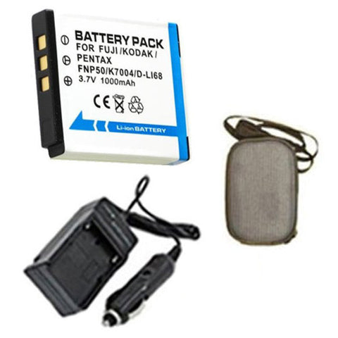 Amsahr Extended Life Replacement Digital Camera and Camcorder Battery PLUS Mini Battery Travel Charger for Pentax D-LI68, Fujifilm NP-50, Pentax Optio: A36 - Includes Hard Case Camera Bag