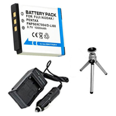 Amsahr Extended Performance Replacement Digital Camera and Camcorder Battery PLUS Mini Battery Travel Charger for Pentax D-LI68, Fujifilm NP-50, Pentax Optio: A36 - Includes Car Adapter