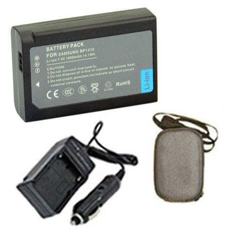 Amsahr Extended Life Replacement Digital Camera and Camcorder Battery PLUS Mini Battery Travel Charger for Samsung IA-BP1410, BP-1410, BP1410, WB2200F, NX30 - Includes Hard Case Camera Bag