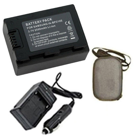 Amsahr Extended Life Replacement Digital Camera and Camcorder Battery PLUS Mini Battery Travel Charger for Samsung IA-BP210E, IABP210E, BP210E, SMX-F40 - Includes Hard Case Camera Bag