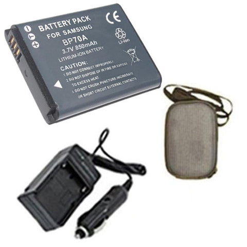 Amsahr Extended Life Replacement Digital Camera and Camcorder Battery PLUS Mini Battery Travel Charger for Samsung BP-70A, BP70A, AQ100, ES65, ES70, ES73 - Includes Hard Case Camera Bag