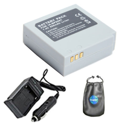 Amsahr Digital Replacement Digital Camera and Camcorder Battery PLUS Mini Battery Travel Charger for Samsung IA-BP85ST, BP85ST, SC-MX10P, SC-HMX10A - Includes Lens Accessories Pouch