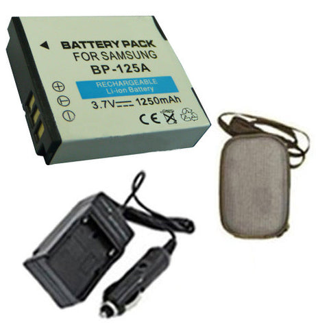 Amsahr Extended Life Replacement Digital Camera and Camcorder Battery PLUS Mini Battery Travel Charger for Samsung IA-BH125A, HMX: M20, M20BN, M20SN, QF20 - Includes Hard Case Camera Bag