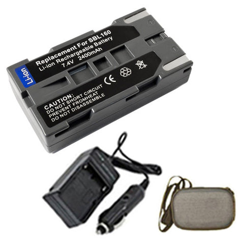 Amsahr Extended Life Replacement Digital Camera and Camcorder Battery PLUS Mini Battery Travel Charger for Samsung SB-L160, L160, VP: L500, L520, L530 - Includes Hard Case Camera Bag