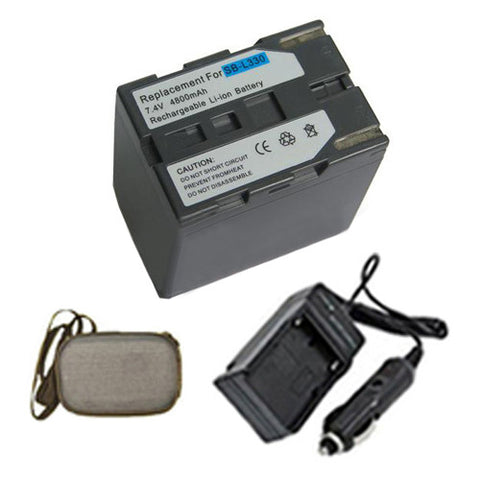 Amsahr Extended Life Replacement Digital Camera and Camcorder Battery PLUS Mini Battery Travel Charger for Samsung SB: L330, W71, 26, L70, L70A, LS70, L110 - Includes Hard Case Camera Bag