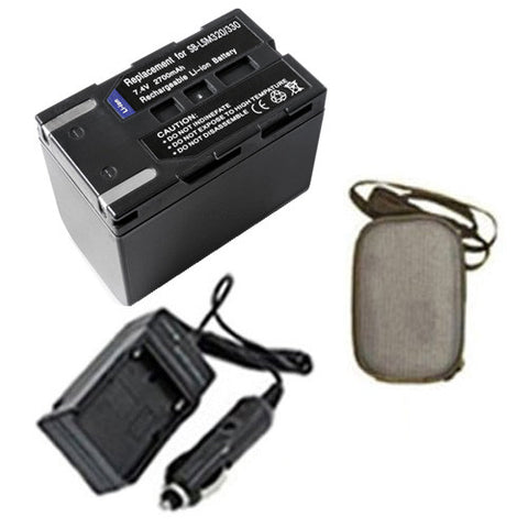Amsahr Extended Life Replacement Digital Camera and Camcorder Battery PLUS Mini Battery Travel Charger for Samsung SB-LSM320, SB-LSM160, SC: D263, D351 - Includes Hard Case Camera Bag