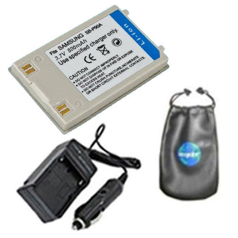 Amsahr Digital Replacement Digital Camera and Camcorder Battery PLUS Mini Battery Travel Charger for Samsung SB-P90A, SBP90A, SB-P90AB, SB-90ASL - Includes Lens Accessories Pouch