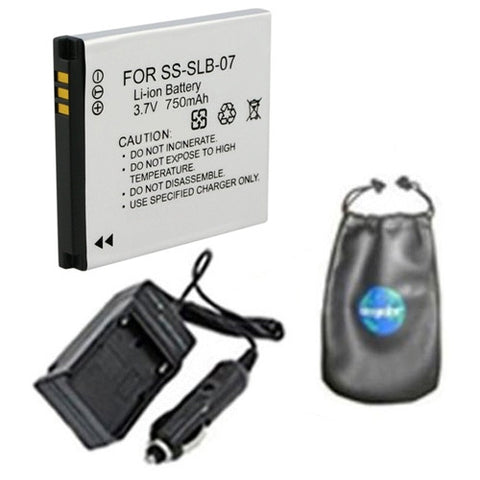 Amsahr Digital Replacement Digital Camera and Camcorder Battery PLUS Mini Battery Travel Charger for Samsung SLB07, SLB-07, SLB07A, SLB-07A, PL150 - Includes Lens Accessories Pouch