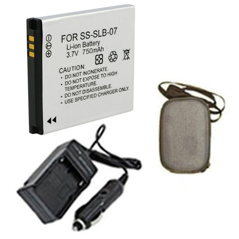 Amsahr Extended Life Replacement Digital Camera and Camcorder Battery PLUS Mini Battery Travel Charger for Samsung SLB07, SLB-07, SLB07A, SLB-07A, PL150 - Includes Hard Case Camera Bag