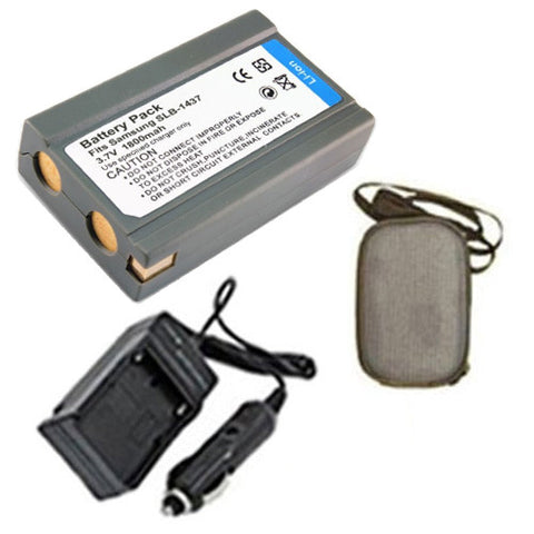 Amsahr Extended Life Replacement Digital Camera and Camcorder Battery PLUS Mini Battery Travel Charger for Samsung SLB-1437, SLB1437, DigiMax: V3, V4, V5 - Includes Hard Case Camera Bag