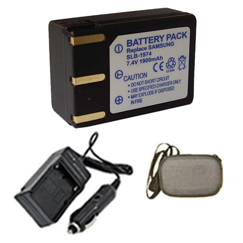 Amsahr Extended Life Replacement Digital Camera and Camcorder Battery PLUS Mini Battery Travel Charger for Samsung SLB-1974, SLB1974, Pro 815, Pro 815SE - Includes Hard Case Camera Bag