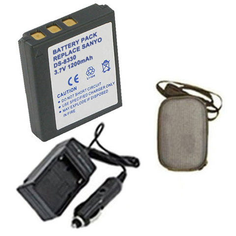 Amsahr Extended Life Replacement Digital Camera and Camcorder Battery PLUS Mini Battery Travel Charger for Sanyo DS-8330, DS8330, VPC-E1000, VPC-W800 - Includes Hard Case Camera Bag