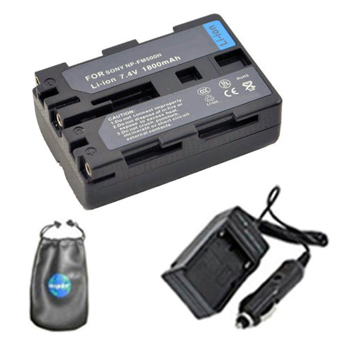 Amsahr Digital Replacement Digital Camera and Camcorder Battery PLUS Mini Battery Travel Charger for Sony NP-FM500H, Alpha DSLR-A900, DSLR-A700 - Includes Lens Accessories Pouch