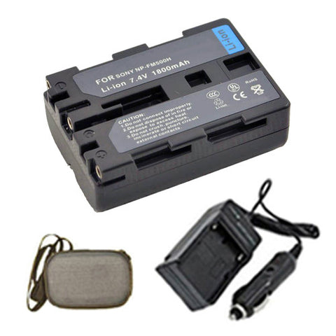 Amsahr Extended Life Replacement Digital Camera and Camcorder Battery PLUS Mini Battery Travel Charger for Sony NP-FM500H, Alpha DSLR-A900, DSLR-A700 - Includes Hard Case Camera Bag