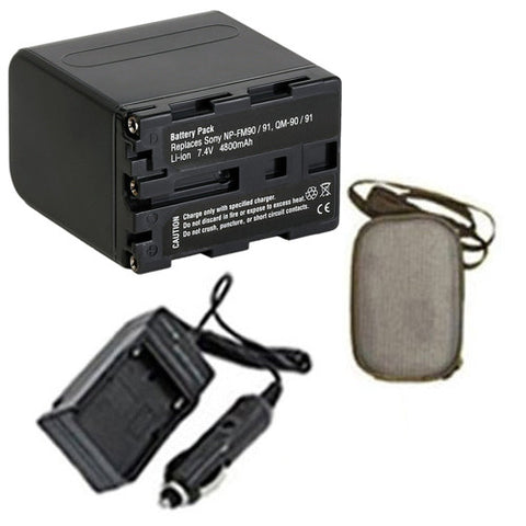 Amsahr Extended Life Replacement Digital Camera and Camcorder Battery PLUS Mini Battery Travel Charger for Sony NP-FM90, NP-QM91, CCD: TRV108, CCD-TRV118 - Includes Hard Case Camera Bag