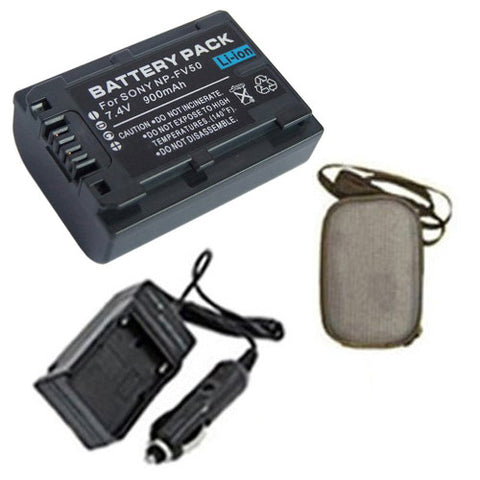 Amsahr Extended Life Replacement Digital Camera and Camcorder Battery PLUS Mini Battery Travel Charger for Sony NP-FV50, HDR-CX170, HDR-CX370V, HDR-CX550 - Includes Hard Case Camera Bag