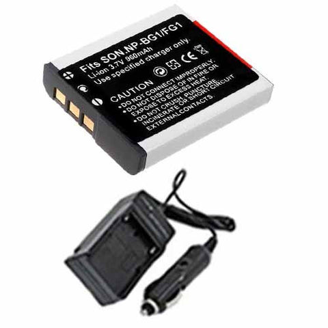 Amsahr Extended Performance Replacement Digital Camera and Camcorder Battery PLUS Mini Battery Travel Charger for Sony NP-BG1, NP-FG1, BC-CSG, DS: H10, H3, H50 - Includes Car Adapter