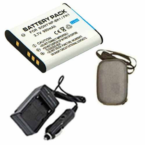Amsahr Extended Life Replacement Digital Camera and Camcorder Battery PLUS Mini Battery Travel Charger for Sony NPBK1, NP-BK1, NP BK1, Cyber-Shot DSC-W180 - Includes Hard Case Camera Bag