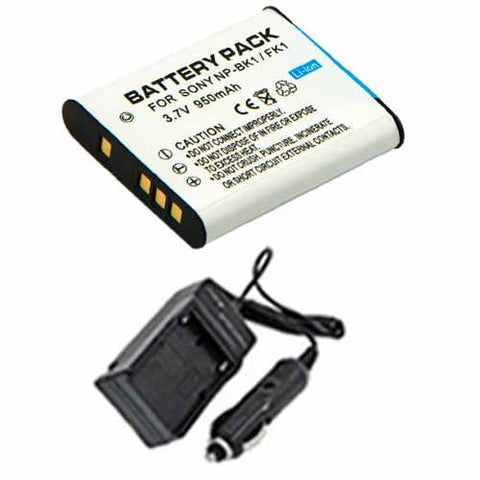 Amsahr Extended Performance Replacement Digital Camera and Camcorder Battery PLUS Mini Battery Travel Charger for Sony NPBK1, NP-BK1, NP BK1, Cyber-Shot DSC-W180 - Includes Car Adapter