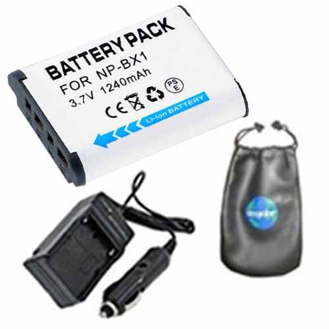 Amsahr Digital Replacement Digital Camera and Camcorder Battery PLUS Mini Battery Travel Charger for Sony NP-BX1, NPBX1, NP BX1, HDR-AS10, HDR-AS15 - Includes Lens Accessories Pouch