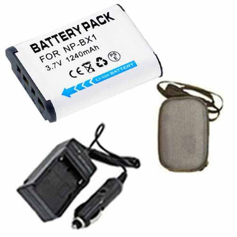 Amsahr Extended Life Replacement Digital Camera and Camcorder Battery PLUS Mini Battery Travel Charger for Sony NP-BX1, NPBX1, NP BX1, HDR-AS10, HDR-AS15 - Includes Hard Case Camera Bag