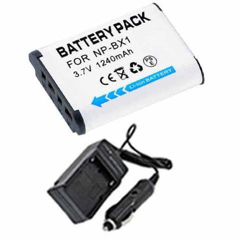 Amsahr Extended Performance Replacement Digital Camera and Camcorder Battery PLUS Mini Battery Travel Charger for Sony NP-BX1, NPBX1, NP BX1, HDR-AS10, HDR-AS15 - Includes Car Adapter