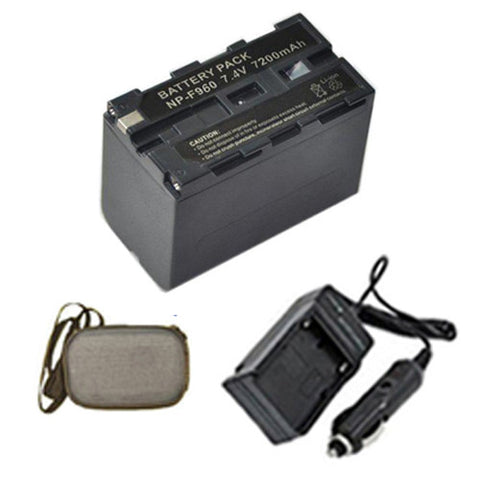 Amsahr Extended Life Replacement Digital Camera and Camcorder Battery PLUS Mini Battery Travel Charger for Sony NP-F960, NP-F930, NP-F950, NP-F970, CS-F930 - Includes Hard Case Camera Bag