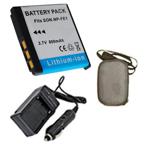 Amsahr Extended Life Replacement Digital Camera and Camcorder Battery PLUS Mini Battery Travel Charger for Sony NP-FE1, NPFE1, Cyber-shot: DSC-T7, DSC-T7B - Includes Hard Case Camera Bag