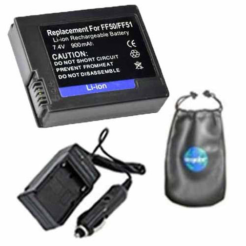 Amsahr Digital Replacement Digital Camera and Camcorder Battery PLUS Mini Battery Travel Charger for Sony NP-FF50, NPFF50, NP-FF51, NPFF51, DCR-IP220 - Includes Lens Accessories Pouch