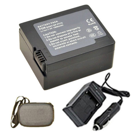 Amsahr Extended Life Replacement Digital Camera and Camcorder Battery PLUS Mini Battery Travel Charger for Sony NP-FF70, NP-FF50, NP-FF51, NP-FF51S, NP-FF71 - Includes Hard Case Camera Bag