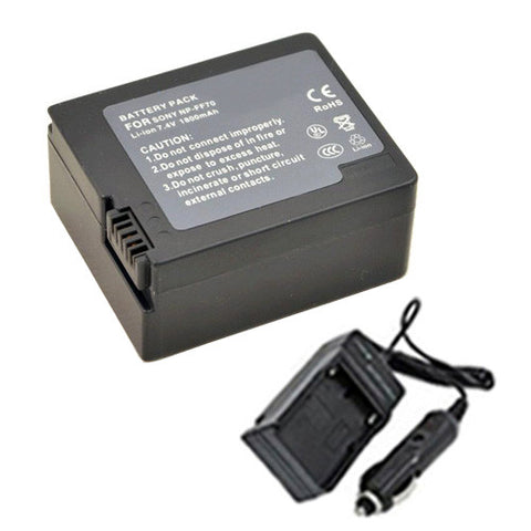 Amsahr Extended Performance Replacement Digital Camera and Camcorder Battery PLUS Mini Battery Travel Charger for Sony NP-FF70, NP-FF50, NP-FF51, NP-FF51S, NP-FF71 - Includes Car Adapter