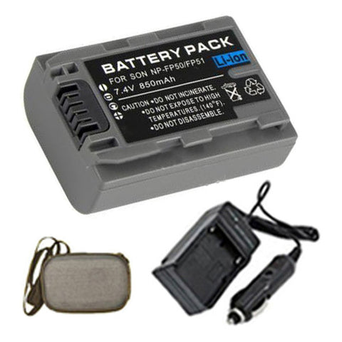 Amsahr Extended Life Replacement Digital Camera and Camcorder Battery PLUS Mini Battery Travel Charger for Sony NP-FP50, NPFP50, NP-FP30, NPFP30, DCR: 30 - Includes Hard Case Camera Bag