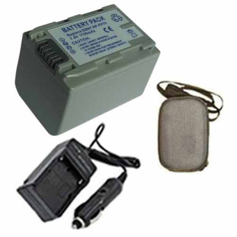 Amsahr Extended Life Replacement Digital Camera and Camcorder Battery PLUS Mini Battery Travel Charger for Sony NPFP70, NP-FP70, DVD105, DVD202, DVD203 - Includes Hard Case Camera Bag