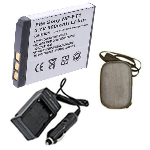 Amsahr Extended Life Replacement Digital Camera and Camcorder Battery PLUS Mini Battery Travel Charger for Sony NP-FT1, NPFT1, Cyber-Shot: DSC-L1, DSC-L1/B - Includes Hard Case Camera Bag