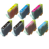 Amsahr Canon CLI-8 BK, MP500 Remanufactured Replacement Ink Cartridges - Includes Set of 7: 2 Black and 5 Color Ink Cartridges