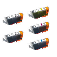 Amsahr Canon CLI-8 BK, CLI-8 C Remanufactured Replacement Ink Cartridges - Includes Set of 5: 2 Black and 3 Color Ink Cartridges