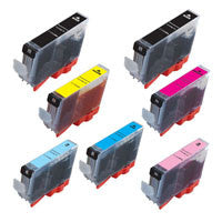 Amsahr Canon CLI-8 BK, iP4200 Remanufactured Replacement Ink Cartridges - Includes Set of 7: 2 BLACK and 5 Color Ink Cartridges