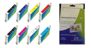 Amsahr Epson T054020, R800 Remanufactured Replacement Ink Cartridges - Includes Set of 8: 2 MATTE BLACK and 6 Color Ink Cartridges