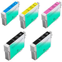 Amsahr Epson T068120, CX5000 Remanufactured Replacement Ink Cartridges - Includes Set of 5: 2 Black and 3 Color Ink Cartridges