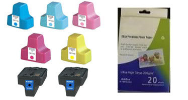Amsahr HP C8721WN, 3110, 3210 Remanufactured Replacement Ink Cartridges - Includes Set of 7: 2 Black and 5 Color Ink Cartridges