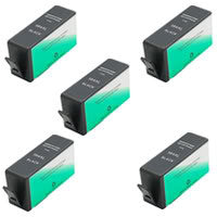 Amsahr HP CN684WN, B8550, C5380 Remanufactured Replacement Ink Cartridges - Includes FIVE BLACK Cartridges