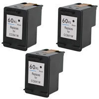 Amsahr HP HP60XL, D1660, D2500 Remanufactured Replacement Ink Cartridges - Includes THREE BLACK Cartridges