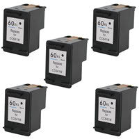 Amsahr HP HP60XL, D1660, D2500 Remanufactured Replacement Ink Cartridges - Includes FIVE BLACK Cartridges