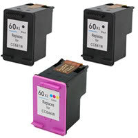 Amsahr HP CC641WN, D1660, D2500 Remanufactured Replacement Ink Cartridges - Includes Set of 3: 2 Black and 1 Color Ink Cartridges