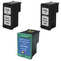 Amsahr HP CB336WN, D4200, J5700 Remanufactured Replacement Ink Cartridges - Includes Set of 3: 2 Black and 1 Color Ink Cartridges